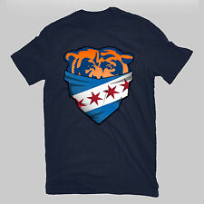 Chicago Bears Bandana Face City Flag T Shirt with a scarf vintage look Navy Blue