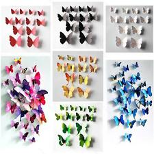 12pcs 3D Wall Sticker Butterfly APLE Home Decor Room Decoration Stickers 7Colors