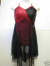 Competition Ice Figure Skating Dance Dress Red & Black Sequins AS AM AL