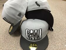 NEW ERA 5950 Cali Bear in Word California Fitted Grey Black HAT CAP 59fifty