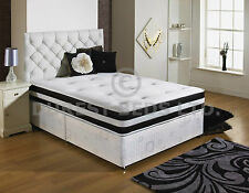 NEW FABRIC QUILTED MEMORY FOAM BED DIVAN MATTRESS HEADBOARD 6FT 5FT 4FT6 DOUBLE
