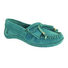 Old Friend Women's Megan Suede Slip On Moccasin Slipper Shoes Blue PM447300