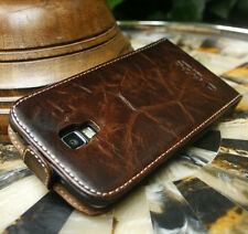 Luxury Distressed Brown Genuine Leather Case Cover For Smartphones Full Grain