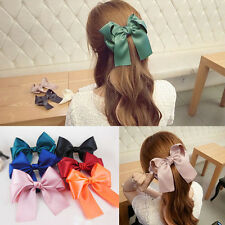 Hot Womens Multicolor Satin Ribbon Bow Hair Clips Barrette Ponytail Holder BRD