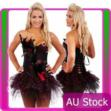 Burlesque Boned Moulin Rouge Corset Fancy Dress Costume Showgirl Bustier Skirt