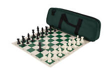 Deluxe Chess Set Combination - Single Weighted Chess Pieces | Vinyl Chess Board