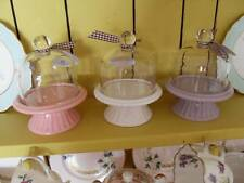 SMALL INDIVIDUAL GLASS DOME AND CERAMIC CUP CAKE STAND CHIC N SHABBY KITCHEN
