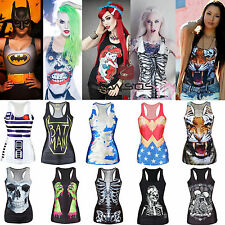 Women Print Tank Tops Vest Blouse Gothic Punk Clubwear Party Sleeveless T-Shirts