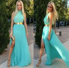 Ocean blue halter maxi prom dress celeb slit skirt special occasion homecoming