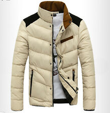 2015 Men's Winter Coat Fashion Thick Padded Collar Coat Slim Jacket