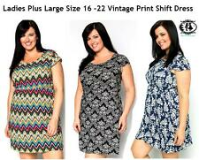LADIES PLUS SIZE 14-16 VINTAGE PRINT CASUAL DRESS FLOWER SKATER TUNIC TOP BLOUSE