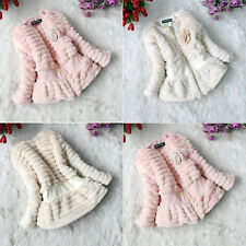 2014 Baby Girls Faux Fur Thicken Outer Jackets Kids Slim Outwears Zip Lined Coat