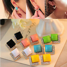 NEW Fashion Gemstone Crystal Rhinestone Earrings Square Ear Studs Gold Plated