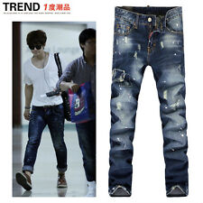 Men Italy Fashion Distressed Jeans  1204 Size 28-36 Destroyed Ripped Biker Pants