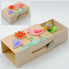 New wooden match box style music box 3 designs:  Bird Owl Ladybug FREE wrapping