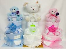 Newborn 2 Tier Nappy Cake Boy/Girl/Unisex/Neutral Baby shower/Mum to be Gift