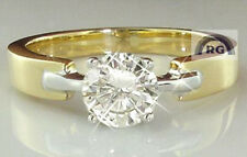 REAL Natural Round CUT White COLOR DIAMOND ENGAGEMENT WEDDING RING 14K GOLD EGL