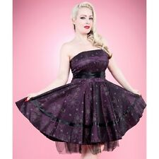 Hearts and Roses Purple Satin Floral 50s Rockabilly Pinup Party Prom Swing Dress