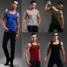 MENS VEST FITTED 100% COTTON GYM TRAINING TANK TOP SHIRT SUMMER Newly SLEEVELESS