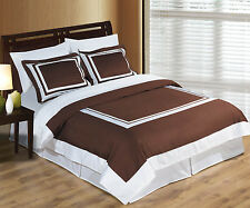 Wrinkle Free Egyptian cotton Hotel Chocolate/White Duvet cover set