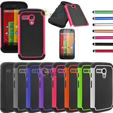 For Motorola Moto G Hybrid Impact Matte Shockproof Hard Case Cover w/ Film & Pen