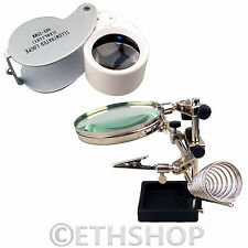 Magnifier Eye Lens Loop Magnifying Glass Helping Hand Solder Iron Holder Stand