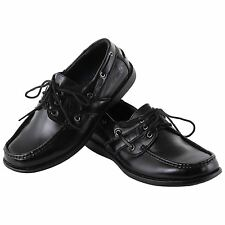 Mens Leather Boat Deck Sailing Smart School Shoes Slip On Lace Up Pumps Moccasin
