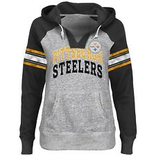 Pittsburgh Steelers NFL Women's Huddle III V-Neck Lightweight Hoodie Sweatshirt