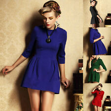 Autumn Women High Waist 3/4 Sleeve Pleated Skirt Mini Skirt Dress Cocktail Party