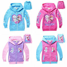 New Girls Kids Frozen Elsa Anna Long sleeve T-shirt jacket 3-8 Years
