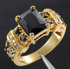 Size 8-12 Deluxe Mens Jewelry 10KT Yellow Gold Filled Black Sapphire Ring HOT