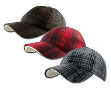 Woolrich Hunt Plaid Wool Baseball Cap Ball Hat Sherpa Brown, Red, Gray One Size