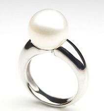 SR072 (AA 11mm Australian south sea White pearl Ring in Silver)