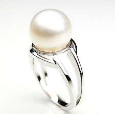 SR071 (AA 11mm Australian south sea White pearl Ring in Silver)