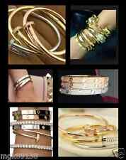 Pave NAIL BRACELET Hinged Cuff Screw Bangle Gold Silver Rose Gold Black Crystal