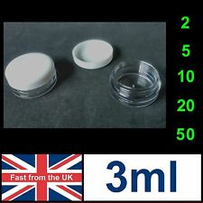 3ml Jars Clear Plastic White Screw Top - Empty 3g Pot Container Cosmetics Small