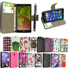 FOR NOKIA LUMIA 530 PU LEATHER CARD POCKET MAGNETIC FLIP CASE COVER + STYLUS