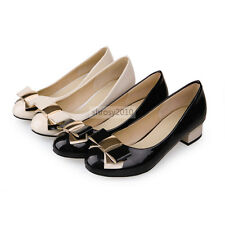 Womens Ladies Wedge Platform Low Thick Heels Miss Pumps Bowknot Court Shoes Size