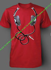New HEADPHONE Red T-Shirt music wire urban fashion dj club party swag dope
