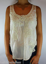 New JOHNNY WAS Embroidered Ivory Blouse Top Sz XS & M Boho Ethnic Vintage
