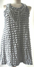 Yumi designer grey bead layer dress long top S UK 10 BNWT