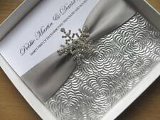 Luxury Silver & White WInter Wedding Invitation + Snowflake - With / Without Box