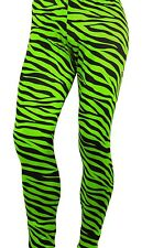RAD Neon 80's Heavy Metal GLAM Rock Bon Jovi GREEN ZEBRA Spandex Stretch Pants