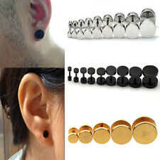 1Pair Hot Punk Jewelry Stainless Steel Round Plain Men Ear Stud Barbell Earring