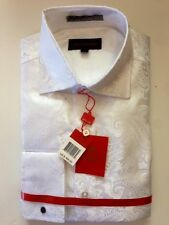 Leonardi High Fashion Dress Shirt #2 White Paisley Retails for $169.00