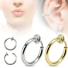 Fake Septum Nose Ear Earring Helix  Hoop Ring Clip On 10mm -  choose Gold Silver