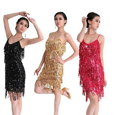 Latin Salsa Tango Ballroom Dance Dress Tassel Sequins Skirt Costume 6 Colors