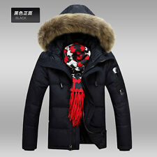 Men's Casual/Business duck down jacket short Overcoat large warm real fur parka