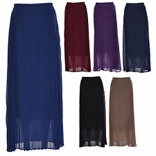 Women Ladies Elastic Waist Retro Chiffon Pleated Linned Long Maxi Skirt 8-14