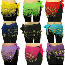 New Chiffon Belly Dance Hip Scarf 3 Rows Coin Belt Skirt